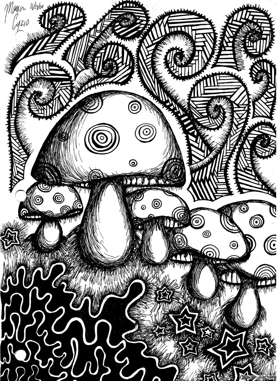 trippy coloring pages mushrooms Coloring4free