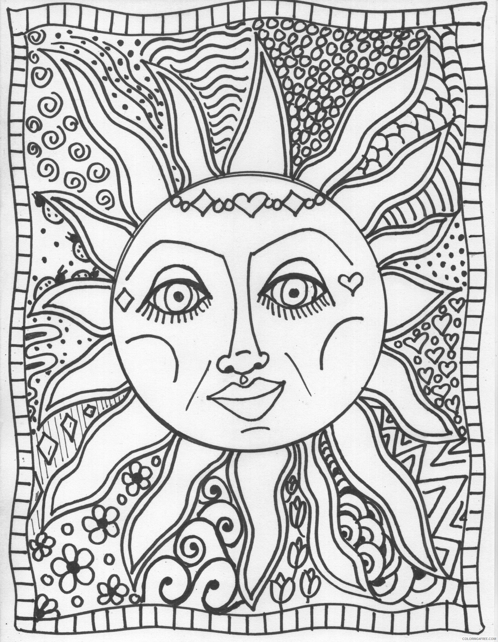 trippy coloring pages sun Coloring4free