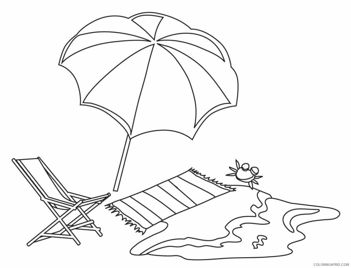 umbrella coloring pages at the beach Coloring4free