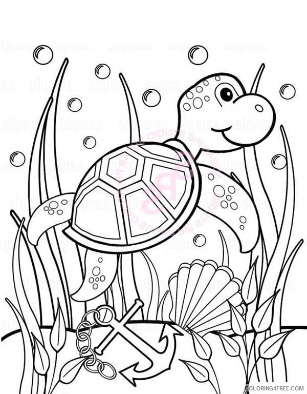 under the sea coloring pages sea turtle anchor seaweeds Coloring4free
