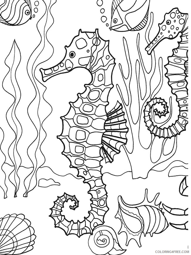 under the sea coloring pages seahorse fish seashells Coloring4free