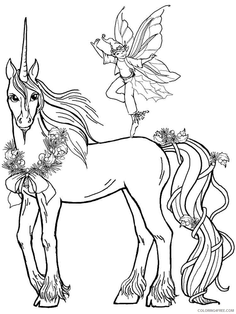 unicorn coloring pages and fairy Coloring4free