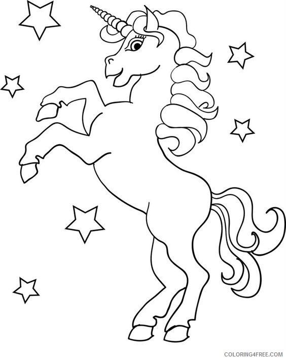 unicorn coloring pages and stars Coloring4free
