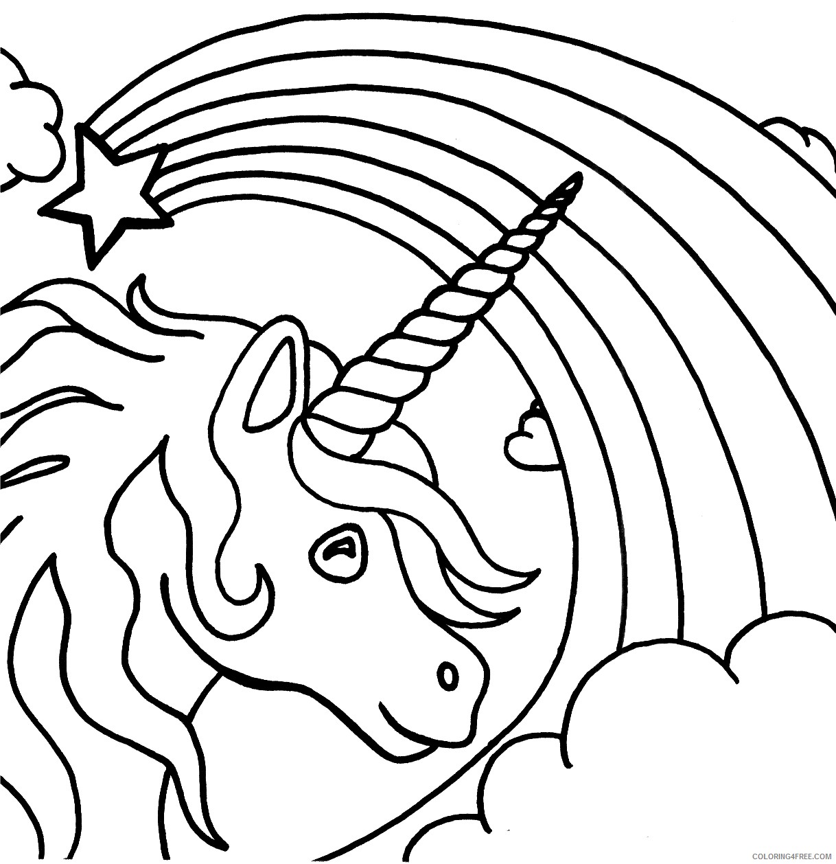 unicorn coloring pages with star rainbow Coloring4free