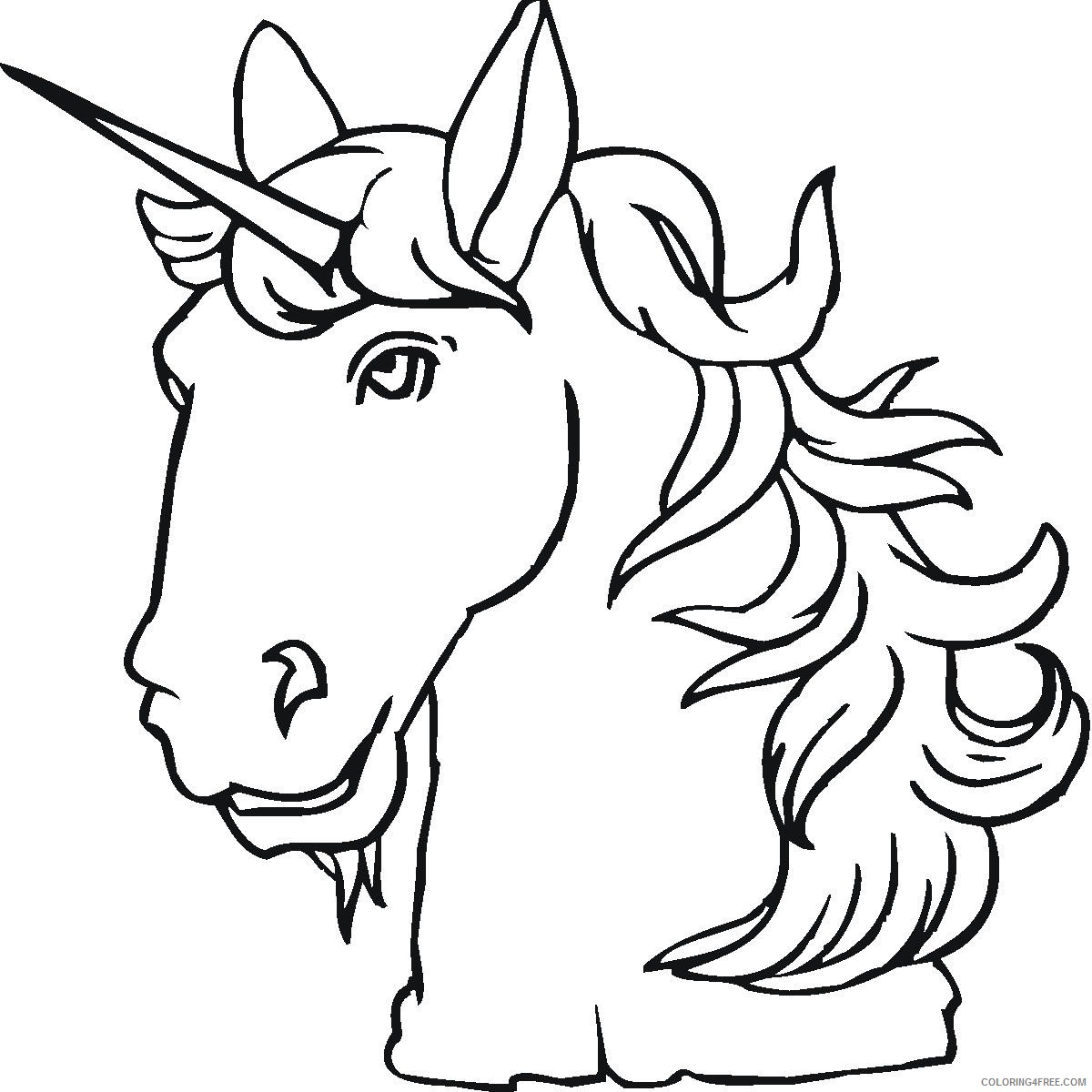 unicorn head coloring pages Coloring4free
