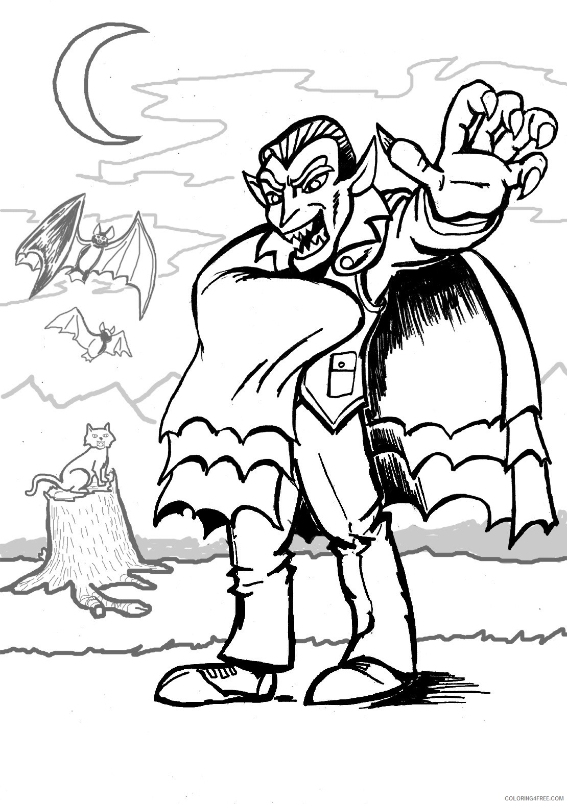 vampire coloring pages at night Coloring4free