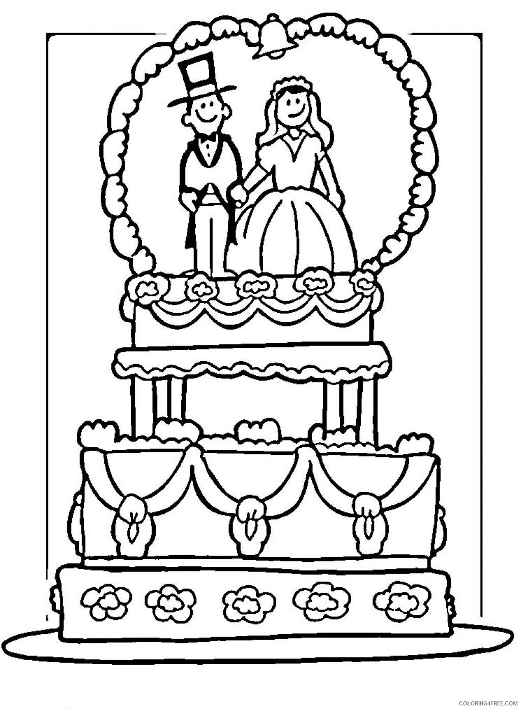 wedding cake coloring pages Coloring4free