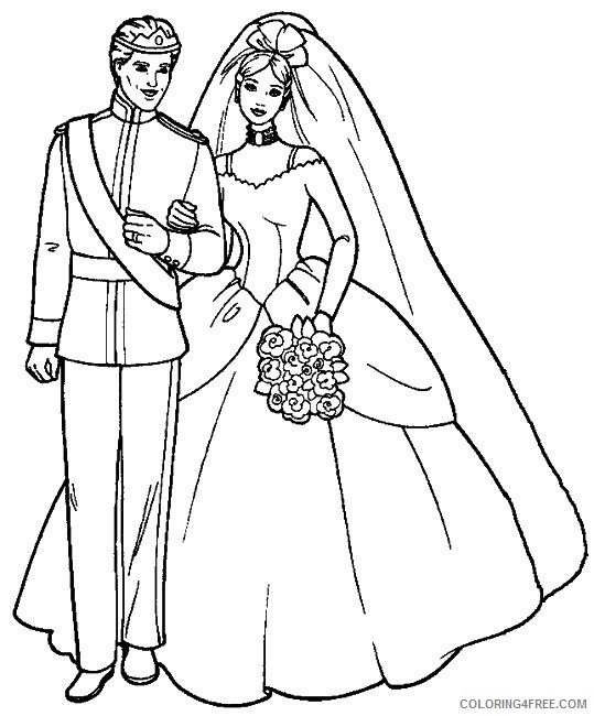 wedding coloring pages bride and groom Coloring4free