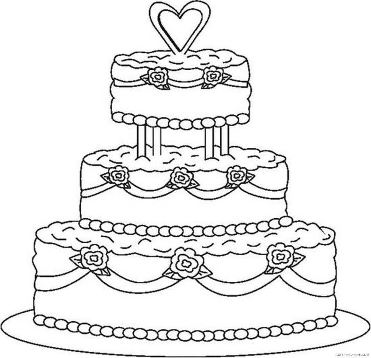 wedding coloring pages cake Coloring4free