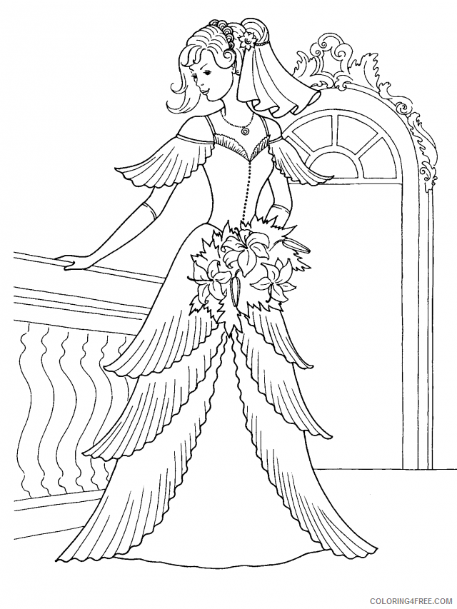 wedding coloring pages for adults printable Coloring4free
