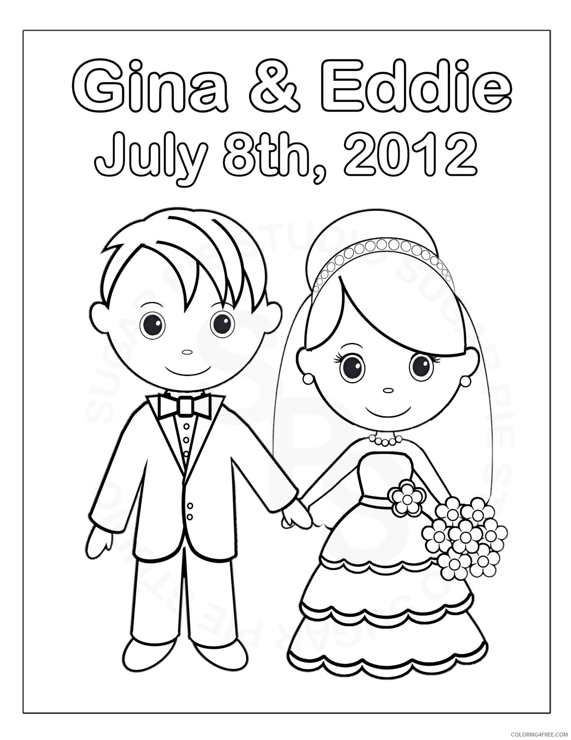 wedding coloring pages printable Coloring4free