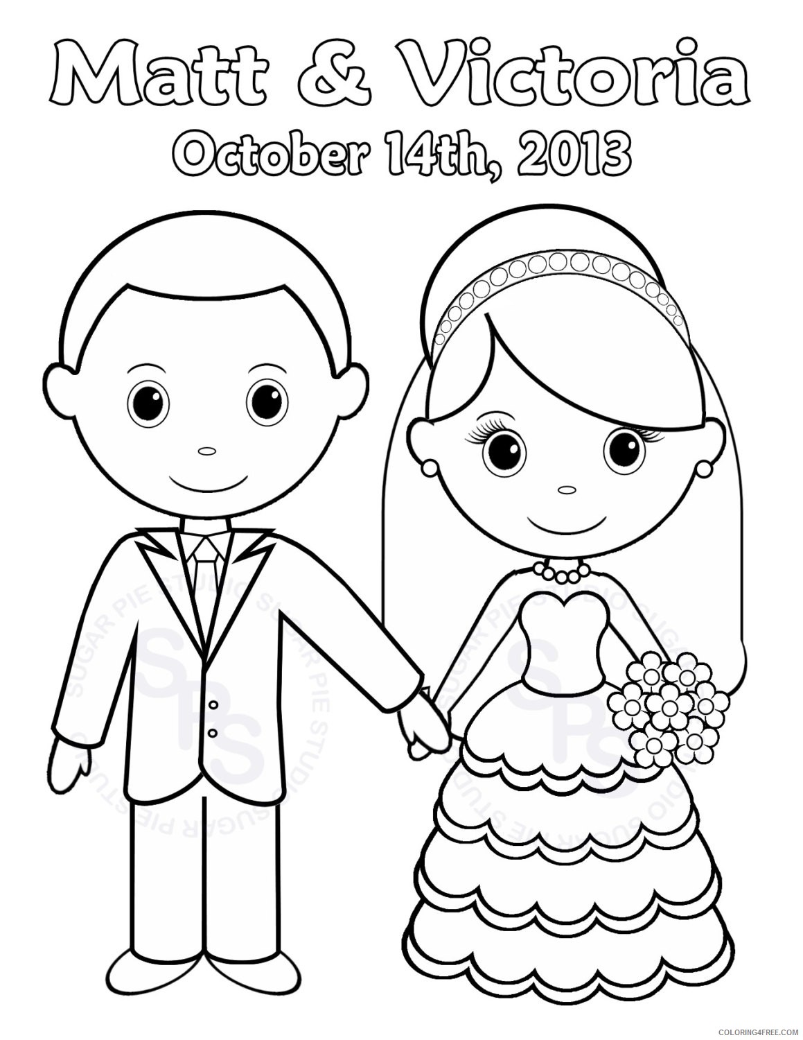 wedding coloring pages to print Coloring4free