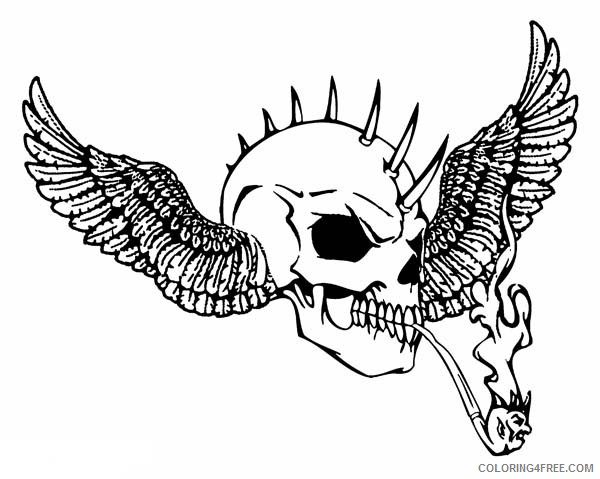 winged skull coloring pages Coloring4free