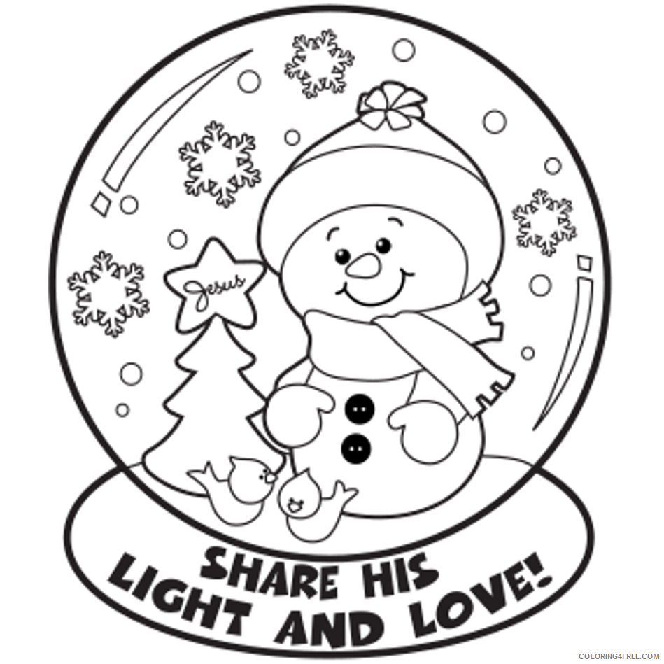 winter coloring pages snowman in snow globe Coloring4free