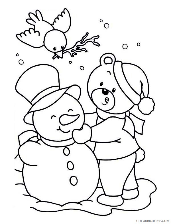 winter coloring pages teddy bear snowman Coloring4free