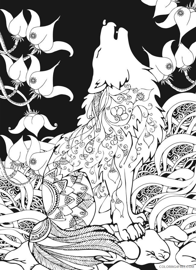 wolf coloring pages howling at night for adults Coloring4free