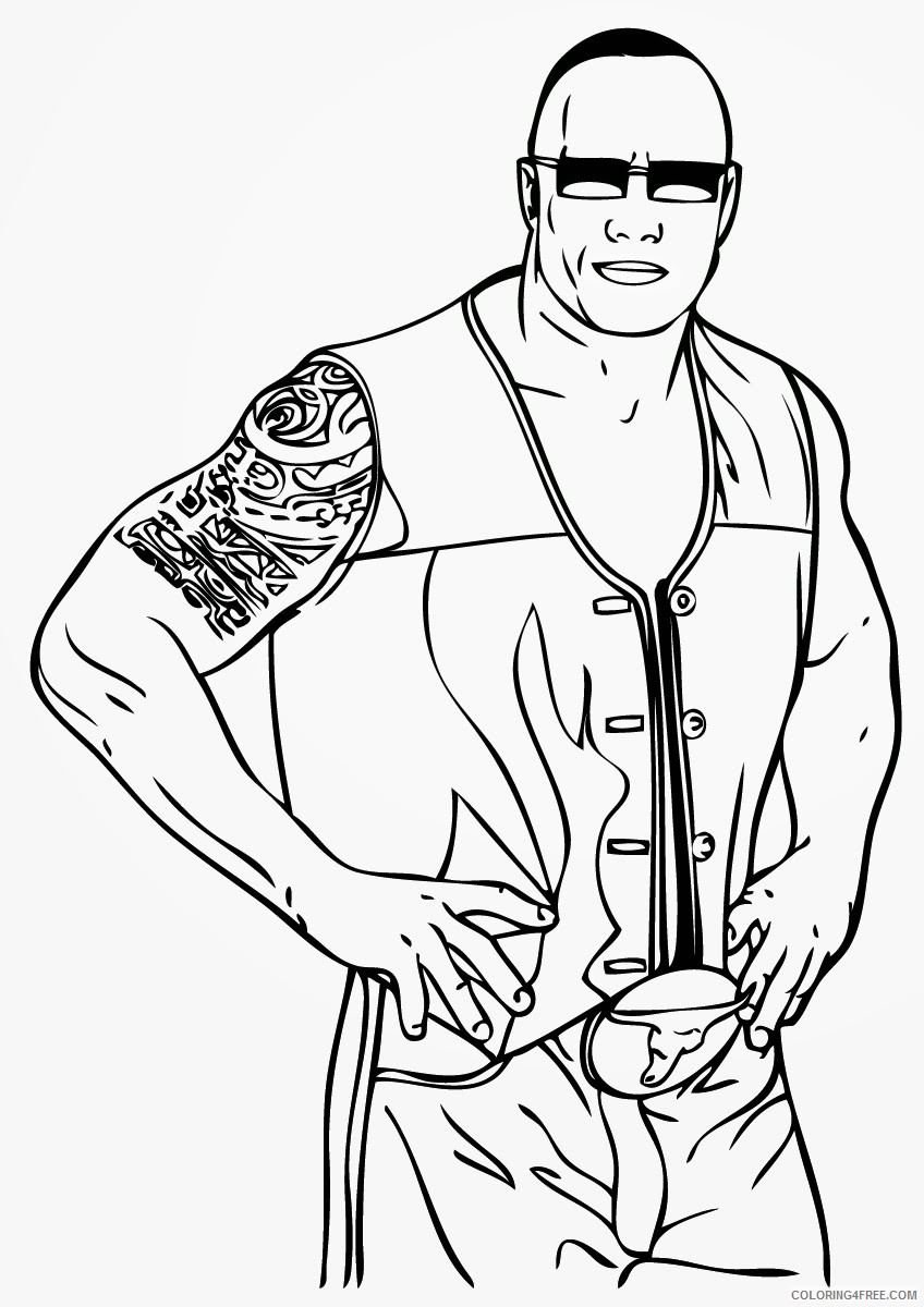 wwe coloring pages the rock Coloring4free
