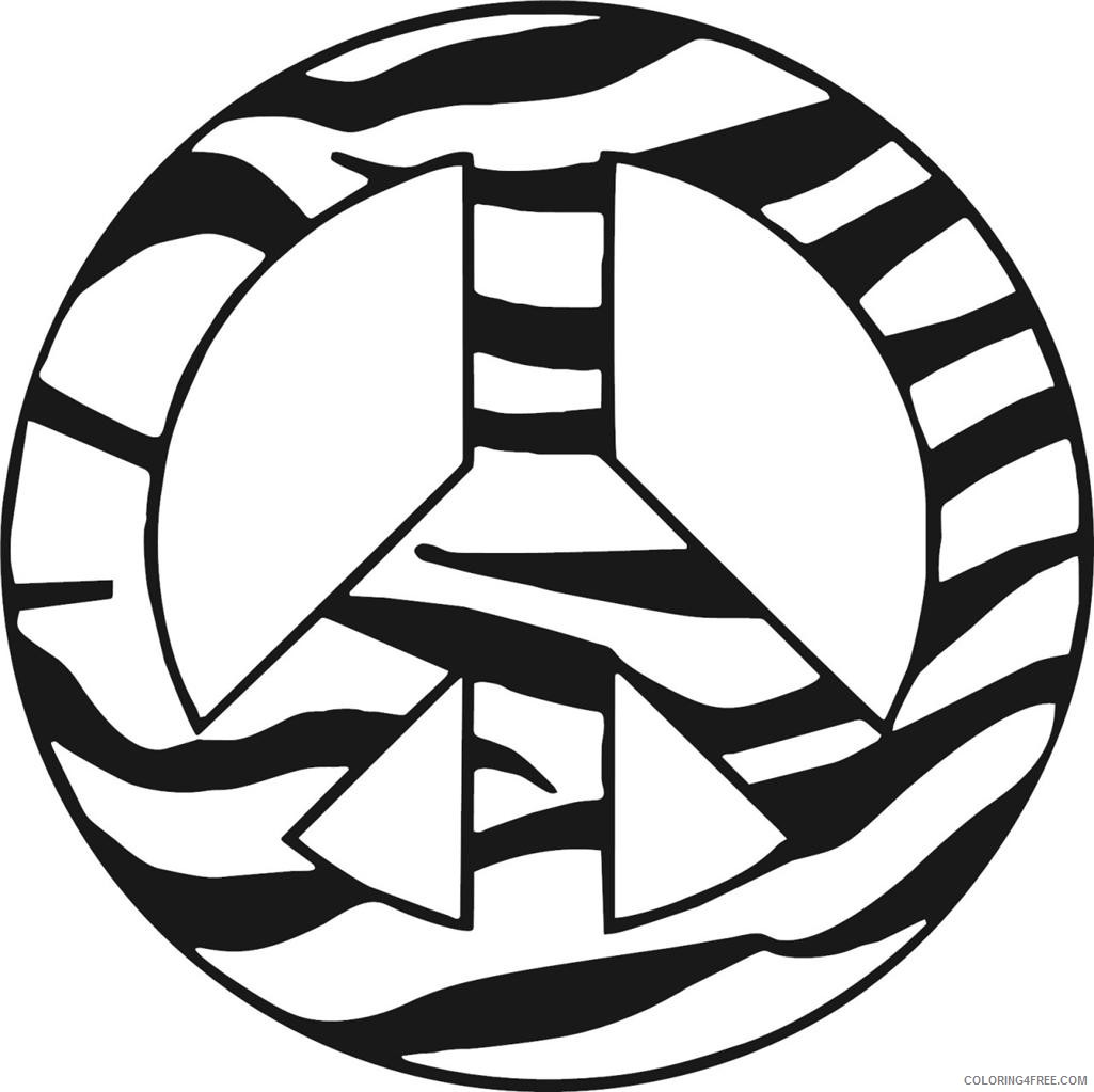 zebra peace sign coloring pages Coloring4free
