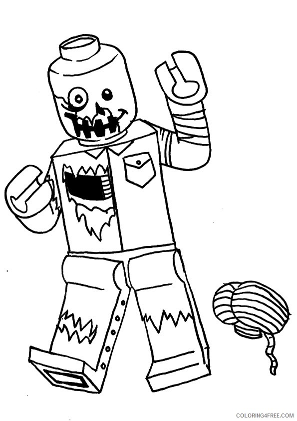 zombie coloring pages lego and brain Coloring4free