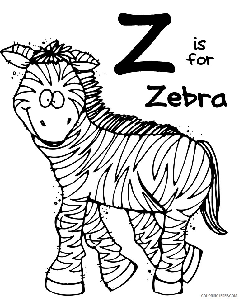 zoo animal coloring pages z for zebra Coloring4free