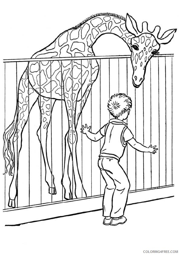 zoo coloring pages giraffe in cage Coloring4free